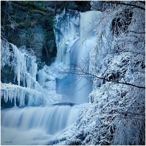 Waterfalls surrounded by Snow   Dingman Falls, PA